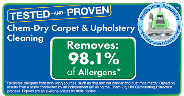 Chem-Dry removes 98% of allergens from carpets and 89% of airborne bacteria