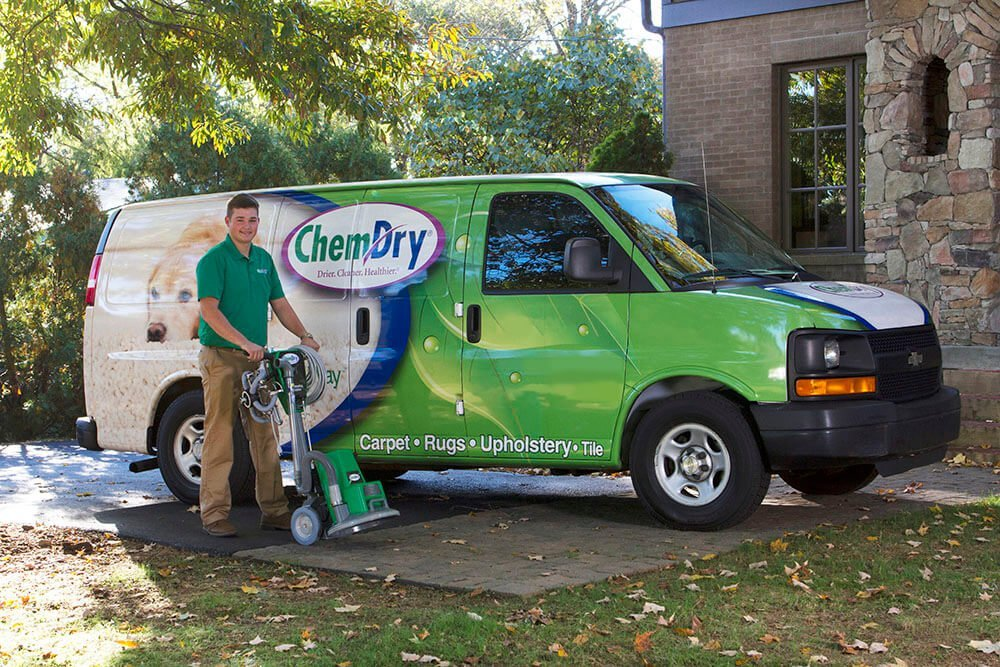 Bakerview Chem-Dry service van and technician preparing for carpet cleaning service